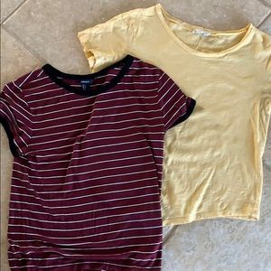 Lot of girls tees, yellow and striped.